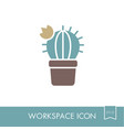 cactus outline icon workspace sign vector image