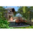 cartoon man in a villa with a pool vector image vector image