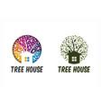 circle tree house set 2 vector image