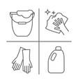 cleaning wash line icons washing machine sponge vector image vector image