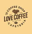 coffee logo love coffee emblem roasted company vector image vector image