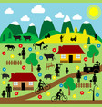 countryside scene with pictograms vector image