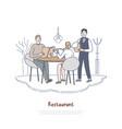 couple dating in restaurant boyfriend vector image vector image