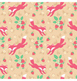 cute foxes and strawberries seamless pattern vector image