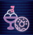 donut with ice cream cup neon light label vector image vector image