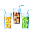 fizzy drinks poured in glasses refreshing set vector image