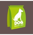 green bag delicious food dog icon vector image vector image