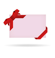 green gift card with ribbon and bow vector image vector image