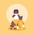 group of little black girls characters vector image