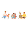 happy fatherhood concept set fathers and their vector image vector image