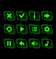 LED green buttons for game vector image vector image