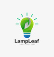 logo lamp leaf gradient colorful style vector image