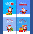 merry christmas collection cards with happy santa vector image vector image