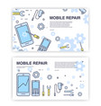 mobile phone repair banners with smartphone and vector image