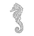 monochrome hand drawn zentagle of sea horse vector image vector image