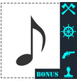 music note icon flat vector image vector image