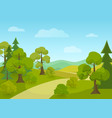 natural landscape with village road and trees vector image vector image