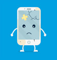 old sad broken phone with cracks and scratches vector image vector image