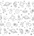 pattern with cosmonauts satelites planets and ufo vector image vector image