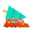 santa claus and deer and elf in car carry vector image vector image