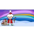 santa claus boy cartoon greeting card vector image vector image