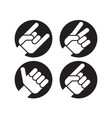 set of four flat hand gesture icons vector image