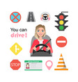set of road symbols and woman driver character vector image vector image
