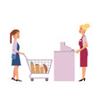 supermarket cash desk with female cashier and vector image