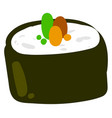 Sushi roll drawing on white background