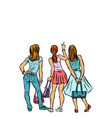 young women shoppers back isolate on a white vector image