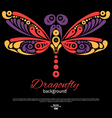 Background with beautiful dragonfly vector image vector image