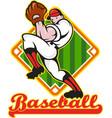 Baseball Pitcher Player Pitching Diamond vector image vector image