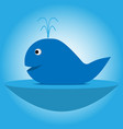 Blue cartoon whale with a fountain on the lake vector image