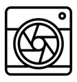 camera with aperture line icon camera objective vector image