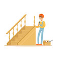 carpenter building a wooden staircase woodworker vector image vector image