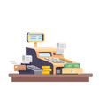 cash register machine with money vector image