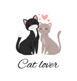 cat lover lettering cartoon vector image vector image