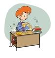Chemistry boy schoolboy pours vials vector image vector image