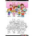 children and teens characters group color book vector image vector image