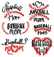 collection baseball mom inscriptions set of vector image