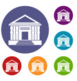 colonnade icons set vector image vector image