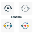 control icon set four elements in diferent styles vector image vector image