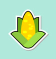 corn sticker on blue background colorful vegetable vector image