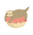 cute sloth lying on a donut vector image