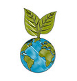 earth planet with leaves icon vector image vector image