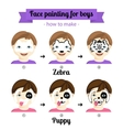 Face painting boys 3 vector image vector image