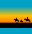 family riding horses and ponny vector image