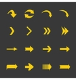 Flat yellow set of arrows icons vector image