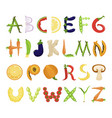 food alphabet tasty set font typography vector image