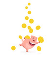 funny happy piggy bank catching coins vector image vector image